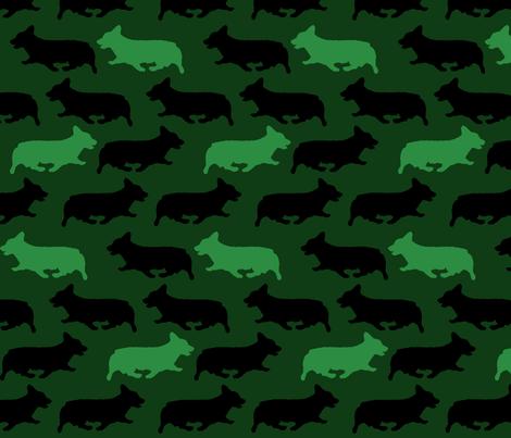 Green camo Pembrokes fabric by rusticcorgi on Spoonflower - custom fabric