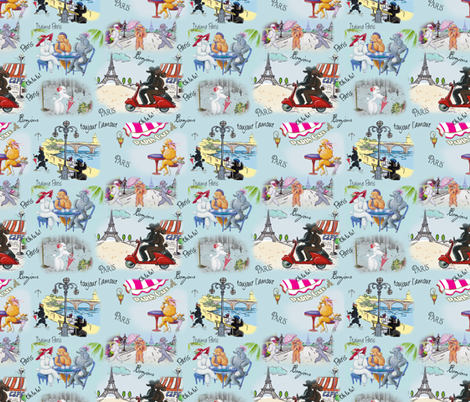 Poodle Dog Paris Collage fabric by greerdesign on Spoonflower - custom fabric