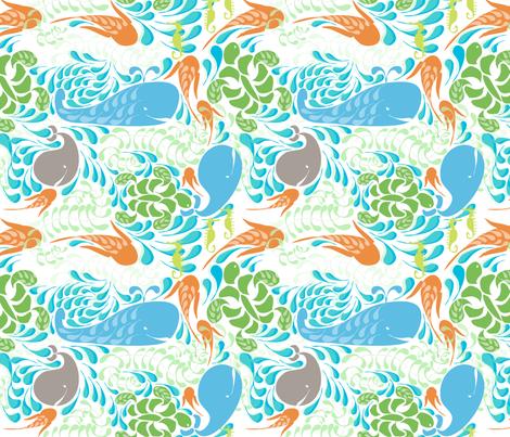"AQUARIUM in ""SKY & TANGERINE"" fabric by trcreative on Spoonflower - custom fabric"