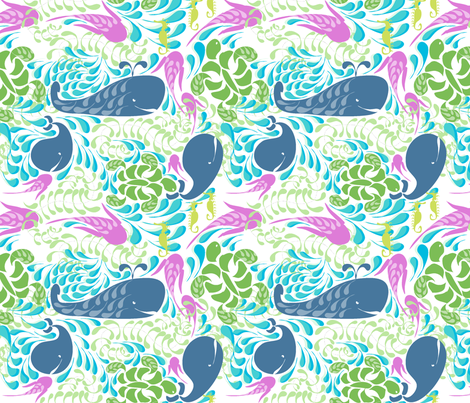 "AQUARIUM in ""AZURE & FUCHSIA"" fabric by trcreative on Spoonflower - custom fabric"