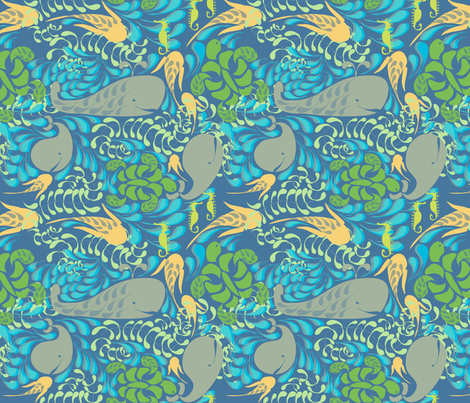 "AQUARIUM in ""AZURE"" fabric by trcreative on Spoonflower - custom fabric"
