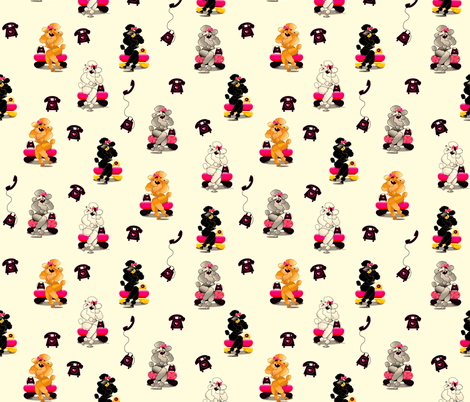 Retro Poodle Phone fabric by greerdesign on Spoonflower - custom fabric
