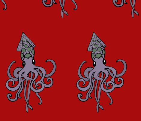 Purple Squid fabric by pond_ripple on Spoonflower - custom fabric
