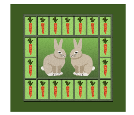 Rabbits and Carrots Panel fabric by nezumiworld on Spoonflower - custom fabric