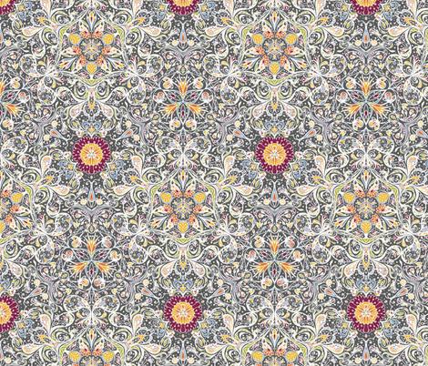 Blooming Paisleys in White - © Lucinda Wei fabric by lucindawei on Spoonflower - custom fabric