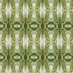 Gold Filigree Links on Spring Green Satiny Background