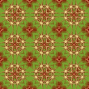 Yellow Cross and Star with green and red.
