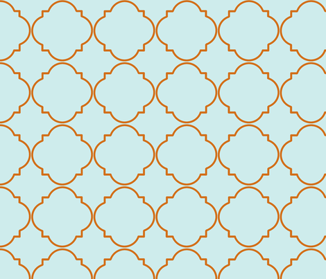 What a Hoot-Orange/Blue Deco Pattern fabric by annahoward on Spoonflower - custom fabric