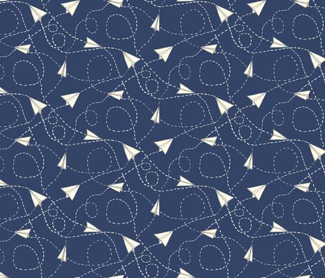 Design Crafty Paper planes 'night sky' fabric by twilltextiledesign on Spoonflower - custom fabric