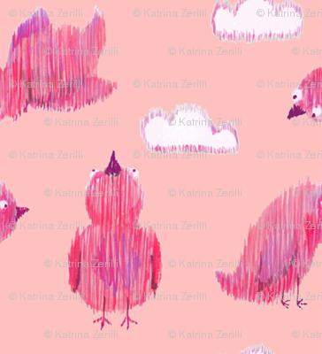 Ikat Birdies - pink