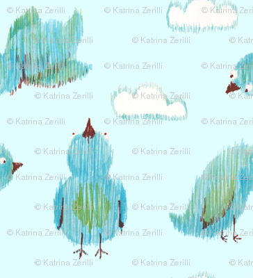Ikat Birdies - blue