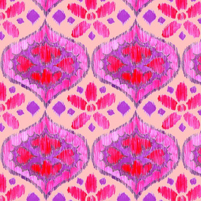 Ikat Medallion - purple and pink