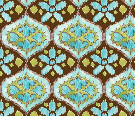 Ikat Medallion - blue and brown fabric by katrinazerilli on Spoonflower - custom fabric