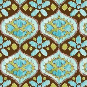 Ikat Medallion - blue and brown