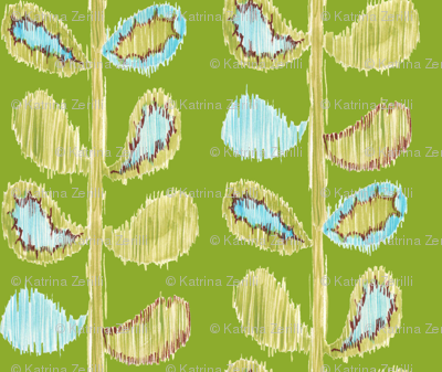 Ikat Stems - green and blue