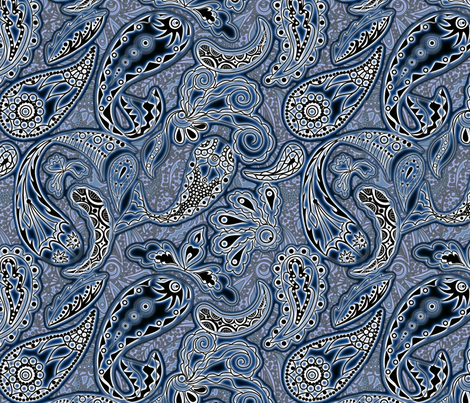 Paisley Ahoy Koi, Oh boy (please zoom) fabric by vo_aka_virginiao on Spoonflower - custom fabric