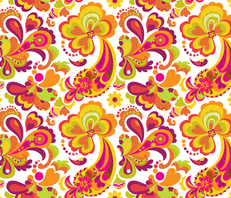 Hot Summer Paisley fabric by chulabird on Spoonflower - custom fabric