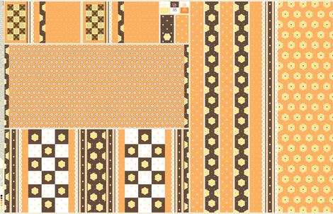 Checkerboard Tote - Orange - flexible kit plus bonus fabric by inscribed_here on Spoonflower - custom fabric