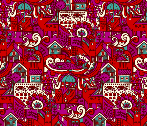 red fabric by ruusulampi on Spoonflower - custom fabric