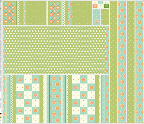 Checkerboard Tote - Victorian Green and Apricot - flexible kit plus bonus fabric by inscribed_here on Spoonflower - custom fabric