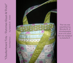 Checkerboard Tote - Victorian Green and Violet (click to see project photographs)