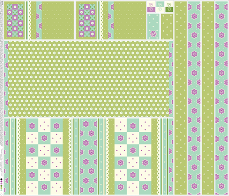 Checkerboard Tote - Victorian Green and Violet (click to see project photographs) fabric by inscribed_here on Spoonflower - custom fabric