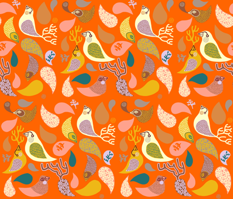 birds in paisley fabric by endemic on Spoonflower - custom fabric