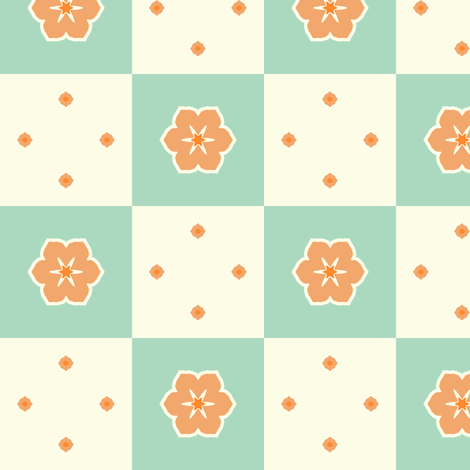 Checkerboard Petal - Victorian Apricot fabric by inscribed_here on Spoonflower - custom fabric