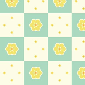 Checkerboard Petal - Victorian Lemon