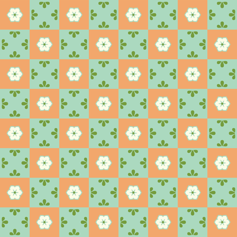 Checkerboard Leaf - Victorian Apricot fabric by inscribed_here on Spoonflower - custom fabric