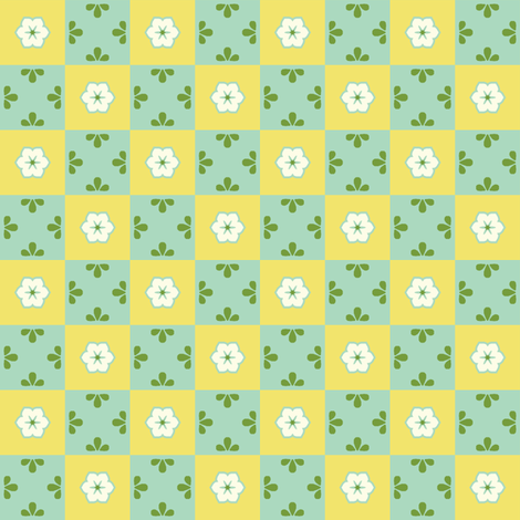 Checkerboard Leaf - Victorian Lemon fabric by inscribed_here on Spoonflower - custom fabric