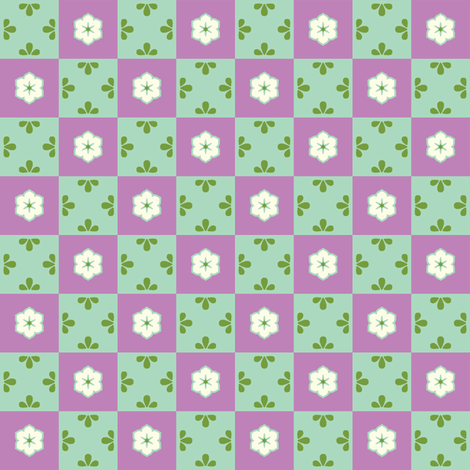 Checkerboard Leaf - Victorian Violet fabric by inscribed_here on Spoonflower - custom fabric
