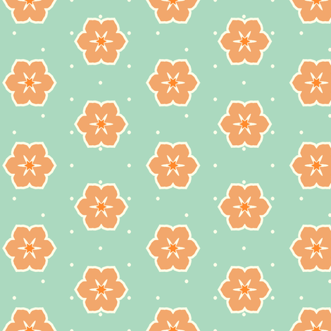 Cream Dots Floral - Victorian Apricot fabric by inscribed_here on Spoonflower - custom fabric