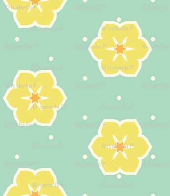 Cream Dots Floral - Victorian Lemon