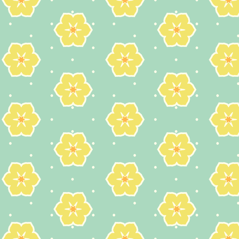 Cream Dots Floral - Victorian Lemon fabric by inscribed_here on Spoonflower - custom fabric