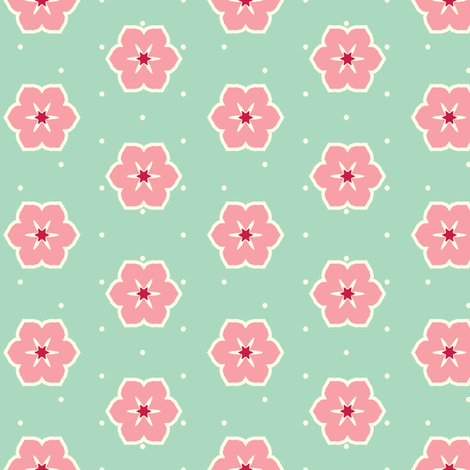 Cream Dots Floral - Victorian Rose fabric by inscribed_here on Spoonflower - custom fabric