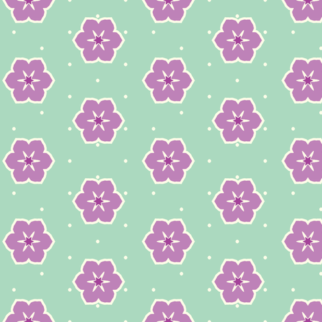 Cream Dots Floral - Victorian Violet fabric by inscribed_here on Spoonflower - custom fabric