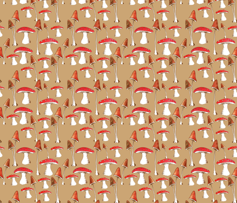 champignons_mignons_fond_beige_L fabric by nadja_petremand on Spoonflower - custom fabric