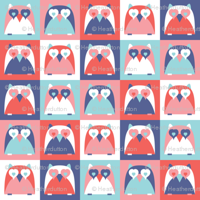 Who Loves You - Retro Valentine's Day Owl Hearts