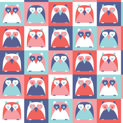 Who Loves You - Retro Valentine's Day Owl Hearts fabric by heatherdutton on Spoonflower - custom fabric