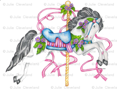 Carousel Horse - White Colored Pencil Drawing