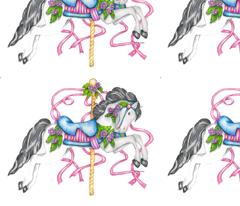 Carousel Horse - White Colored Pencil Drawing fabric by bluemorningexpressions on Spoonflower - custom fabric