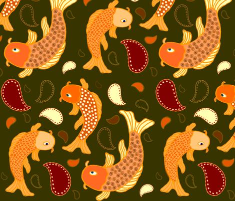 Koi Paisley fabric by jaydesign on Spoonflower - custom fabric