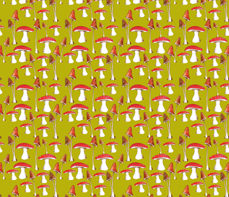 champignons_mignons_fond_vert_L fabric by nadja_petremand on Spoonflower - custom fabric