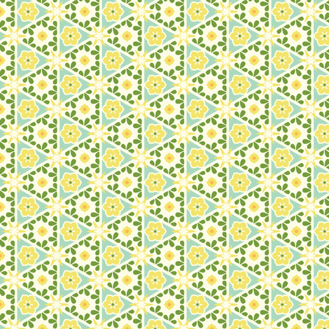 Cream Pyramid Floral - Victorian Lemon fabric by inscribed_here on Spoonflower - custom fabric