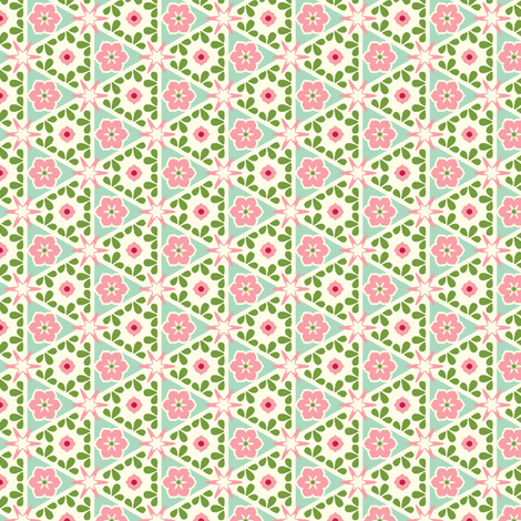 Cream Pyramid Floral - Victorian Rose fabric by inscribed_here on Spoonflower - custom fabric