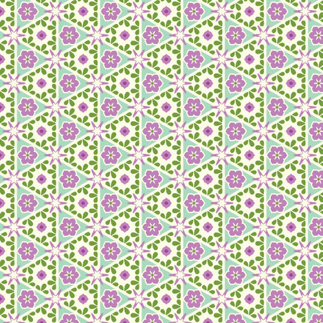 Cream Pyramid Floral - Victorian Violet fabric by inscribed_here on Spoonflower - custom fabric