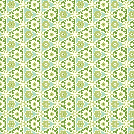 Cream Pyramid Floral - Victorian Green fabric by inscribed_here on Spoonflower - custom fabric