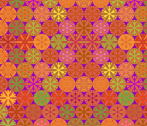 Citrus Slices Geometric on purple large fabric by gingezel on Spoonflower - custom fabric