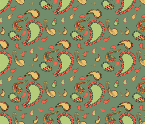 Paisley on Dark Green fabric by seidabacon on Spoonflower - custom fabric